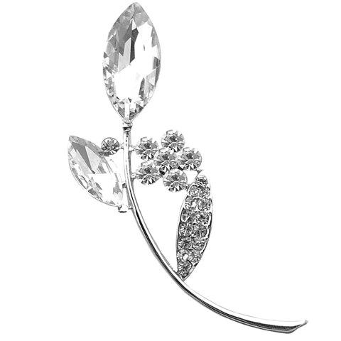 Trendy Rhinestoned Faux Crystal Leaf Shape Brooch For Women - WHITE