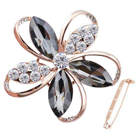 Trendy Rhinestone Faux Crystal Hollow Out Floral Brooch For Women - BLACK