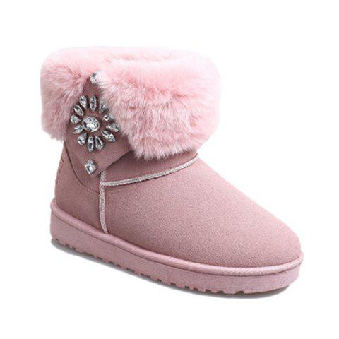 Ladylike Platform and Rhinestones Design Women's Snow Boots - PINK 35