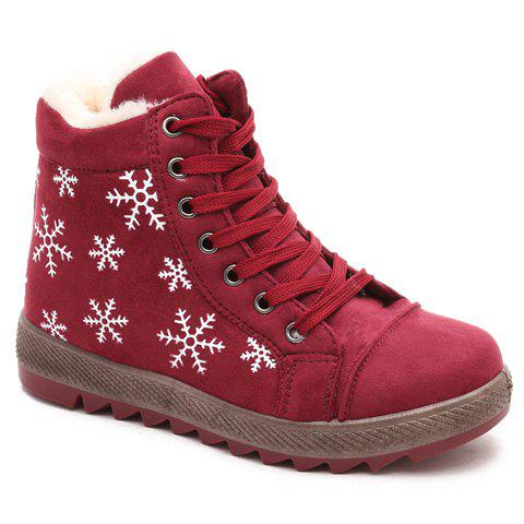 Casual Lace-Up and Snowflakes Print Design Short Boots For Women - RED 39