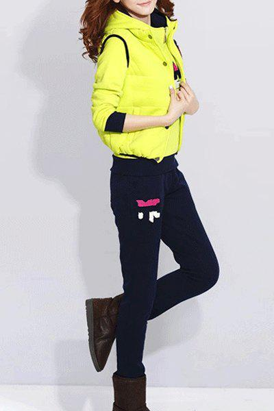 Stylish Hooded Long Sleeve Printed Hoodie + Waistcoat + Elastic Waist Pants Women's Three Piece Suit - NEON GREEN XL
