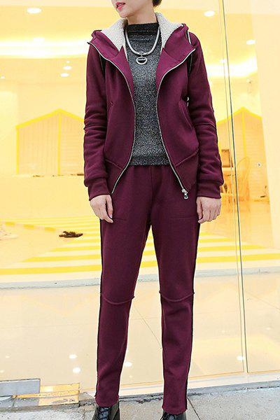 Casual Long Sleeve Hooded Zip Up Hoodie + Solid Color Pants Women's Twinset - DEEP RED M