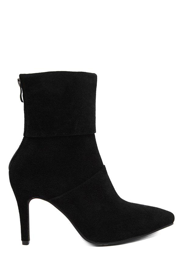Elegant Suede and Pointed Toe Design Women's Short Boots - BLACK 39