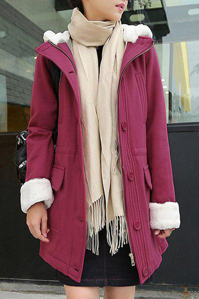 Stylish Women's Hooded Long Sleeve Big Pocket Thicken Coat - PURPLISH RED M