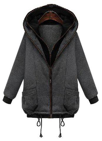 Stylish Hooded Long Sleeve Zip Up Pocket Design Women's Coat - DEEP GRAY S
