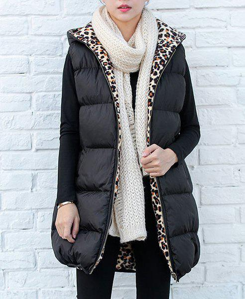 Stylish Sleeveless Hooded Convertible Way Leopard Print Women's Waistcoat - BLACK XL