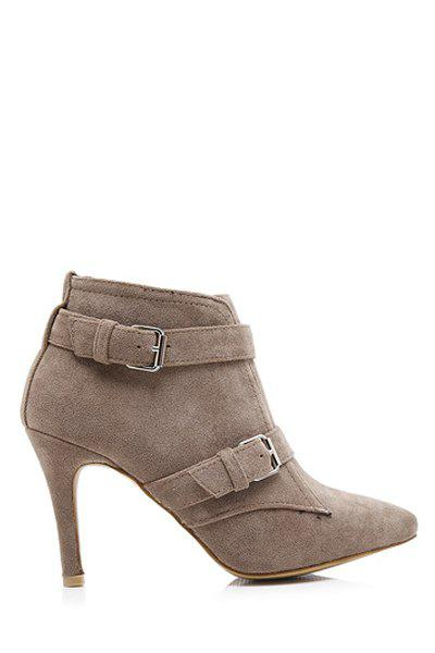 Stylish Buckles and Pointed Toe Design Women's Ankle Boots - KHAKI 39
