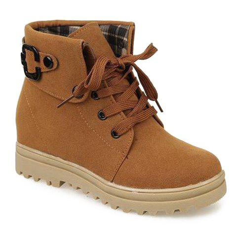 Pretty Lace-Up and Pure Color Design Women's Short Boots