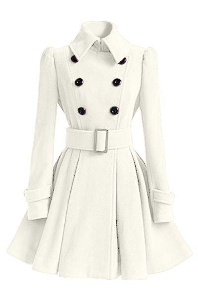 Double Breasted Fit and Flare Wool Coat - WHITE XL