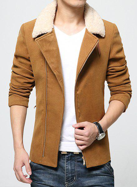 Inclined Top Fly Multi-Zipper PU Leather Design Fur Collar Long Sleeves Thicken Men's Woolen Blend Coat - KHAKI L