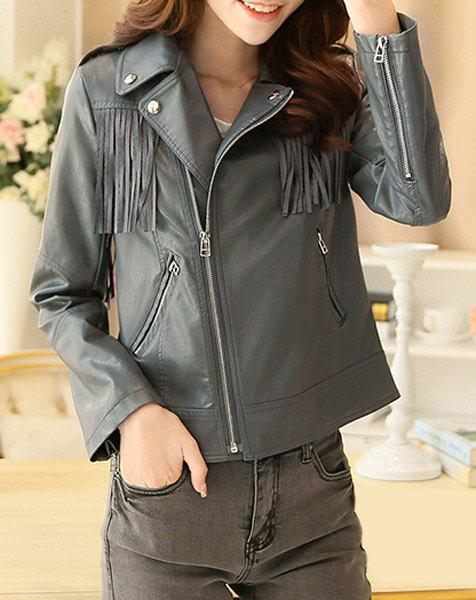 Fashionable Long Sleeve Turn-Down Collar Tassels PU Leather Women's Jacket - GRAY 2XL