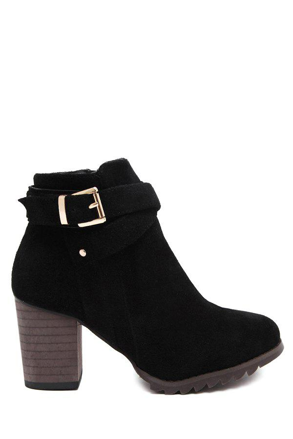Trendy Criss-Cross and Chunky Heel Design Women's Ankle Boots - BLACK 39