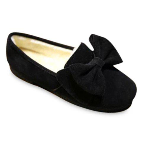 Ladylike Solid Color and Suede Design Women's Flat Shoes - BLACK 37