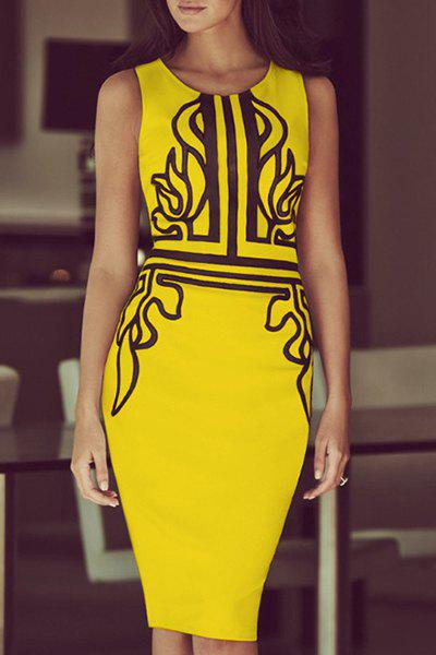 Elegant Sleeveless Round Neck Printed Women's Bodycon Dress - YELLOW S