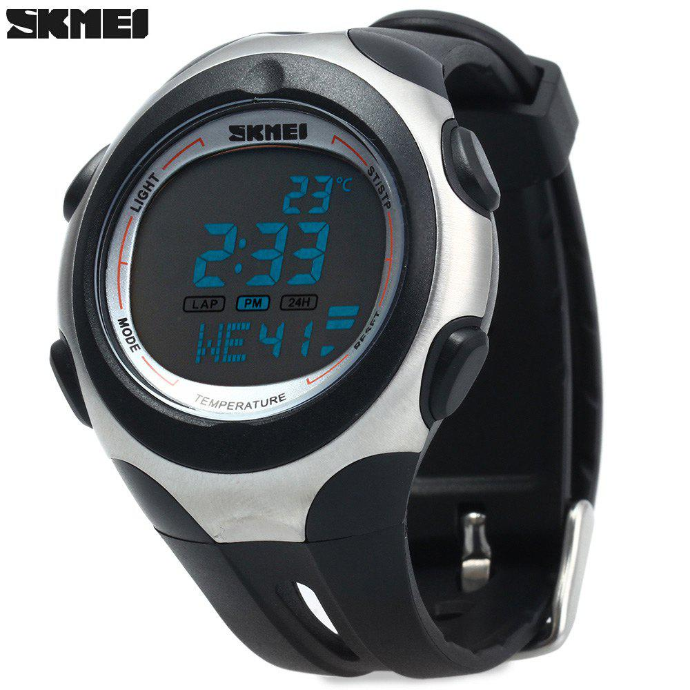 Skmei 1080 Men Sports Digital Watch 5ATM Water Resistant Temperature Display - WHITE