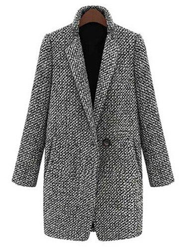 OL Style Mixed Color Lapel Long Sleeve Coat For Women