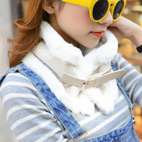 Chic Buckle and Faux Fur Embellished Women's Winter Neck Warmer - OFF WHITE