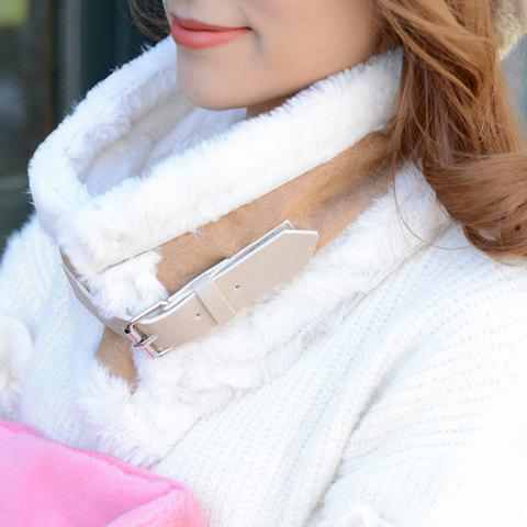 Chic Buckle and Faux Fur Embellished Women's Winter Neck Warmer car cigarette powered charging adapter charger w dual usb output white