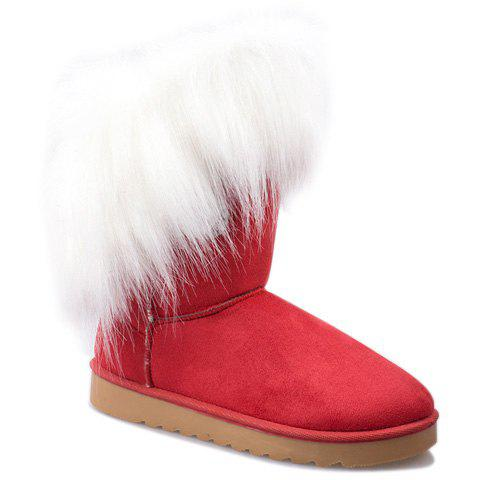 Graceful Faux Fur and Button Design Snow Boots For Women - RED 36