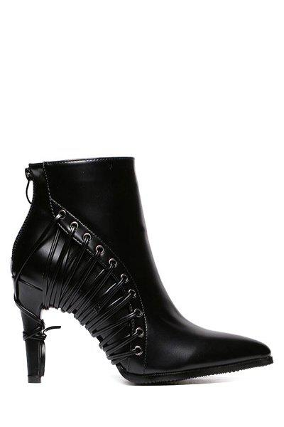 Stylish Black and Pointed Toe Design Women's High Heel Boots - BLACK 36