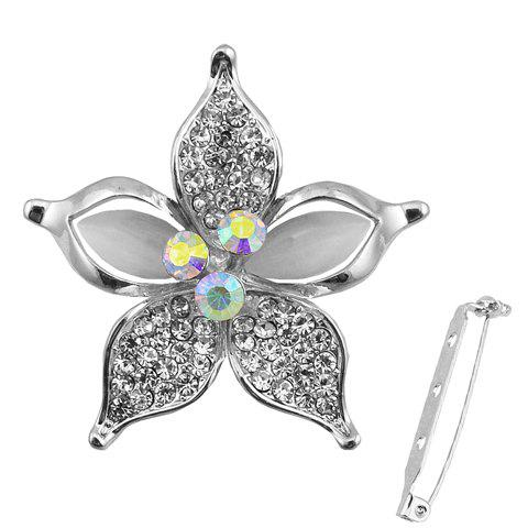 Charming Faux Opal Rhinestone Floral Shape Brooch For Women
