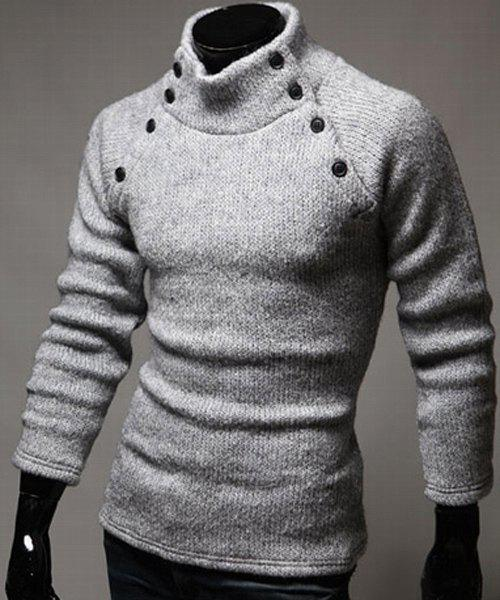 Double-Breasted Solid Color Slimming Half-Collar Long Sleeves Men's Hot Sale Sweater - LIGHT GRAY M