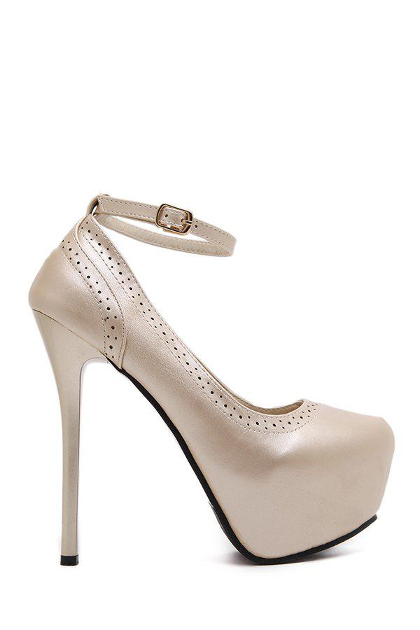 Party Engraving and Ankle Strap Design Women's Pumps - GOLDEN 36