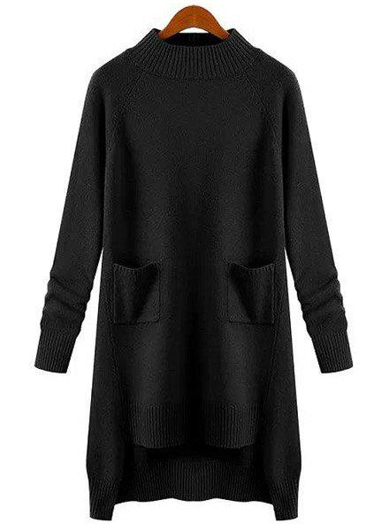 Chic Round Neck Long Sleeve Pocket Design Pure Color Women's Sweater - BLACK M