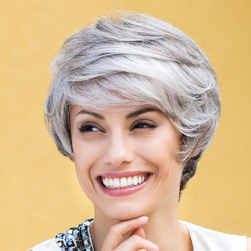 Fluffy Wave Stylish Short Side Bang Synthetic Stunning Mixed Color Women's Wig - COLORMIX