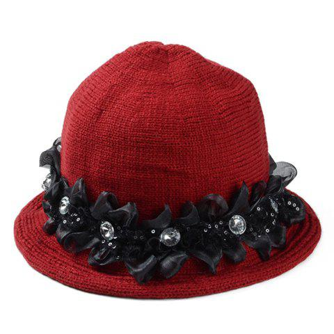 Chic Rhinestone and Flower Shape Embellished Women's Knitted Bucket Hat - WINE RED
