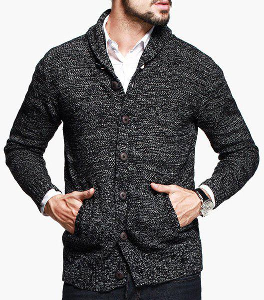 Assorted Color Patch Pocket Slimming Shawl Collar Long Sleeves Men's Vogue Cardigan - COLORMIX XL