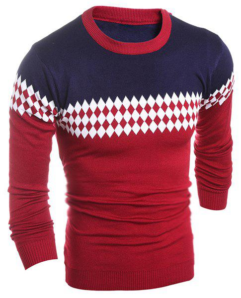 Color Block Splicing Argyle Pattern Round Neck Long Sleeve Men's Geometric Sweater - WINE RED 2XL