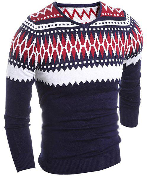 Multielement Color Block V-Neck Long Sleeve Men's Geometric Sweater - RED M