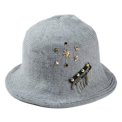 Chic Star and Chain Embellished Women's Punk Knitted Bucket Hat - GRAY