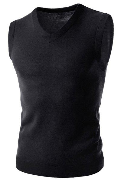 Laconic V-Neck Solid Color Slimming Sleeveless Men's Pullover Sweater Vest