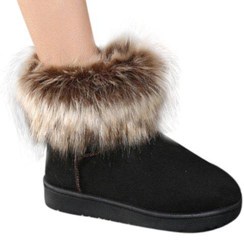 Stylish Suede and Faux Fur Design Women's Snow Boots - BLACK 36