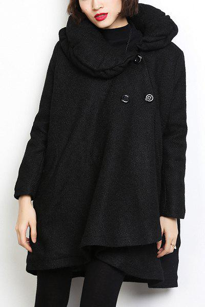 Casual Women's Stand Collar Long Sleeves Loose-Fitting Coat - BLACK ONE SIZE(FIT SIZE XS TO M)