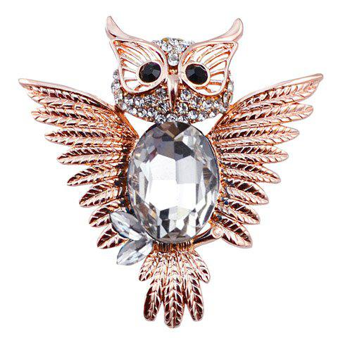Vintage Rhinestoned Faux Gemstone Owl Shape Brooch For Women - WHITE