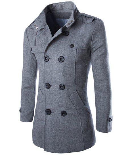 Epaulet Design Turn-Down Collar Double Breasted Long Sleeve Woolen Men's Peacoat - GRAY M