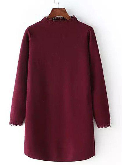 Brief Women's Stand Collar Long Sleeve Laciness Sweater Dress - WINE RED ONE SIZE(FIT SIZE XS TO M)