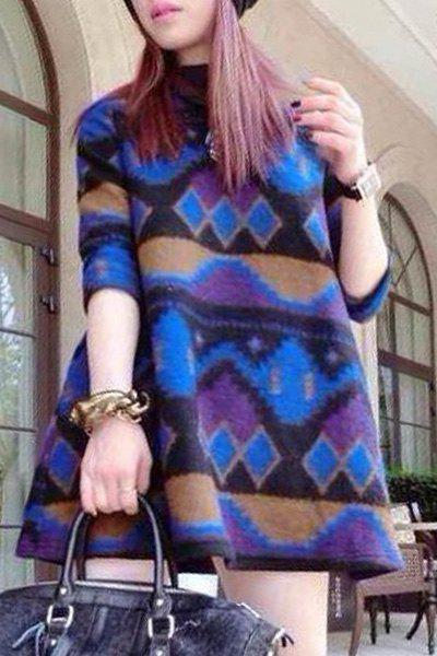 Graceful Jewel Neck 3/4 Sleeve Argyle Loose-Fitting Women's Dress - BLUE M