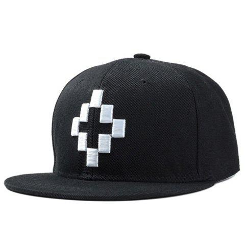 Stylish Rectangle Embroidery Men's Baseball Cap - WHITE