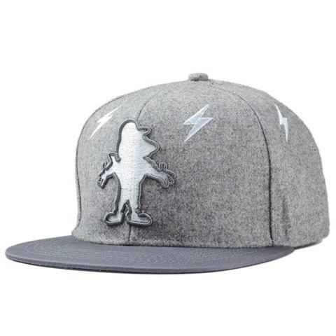 Stylish Cartoon Figure Shape and Lightning Embroidery Men's Baseball Cap - GRAY