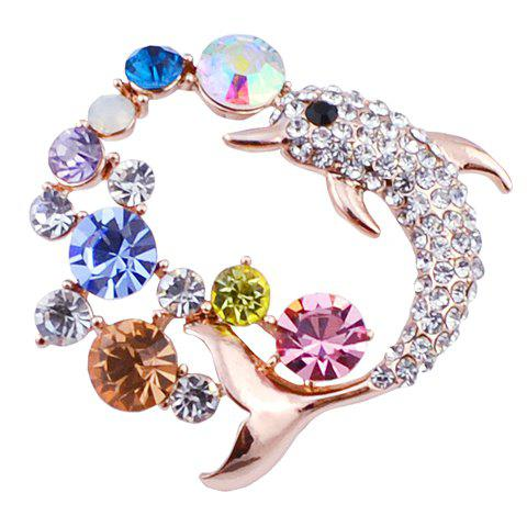 Vintage Rhinestoned Faux Crystal Fish Brooch For Women - COLORFUL