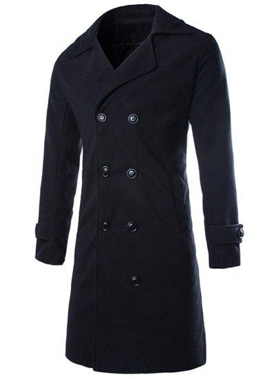 Double Breasted Turndown Collar Longline Peacoat - BLACK 2XL