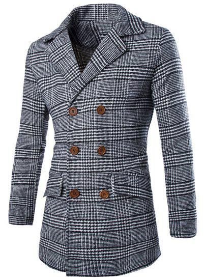 Double Breasted Turn-Down Collar Long Sleeve Woolen Houndstooth Men's Peacoat - GRAY M