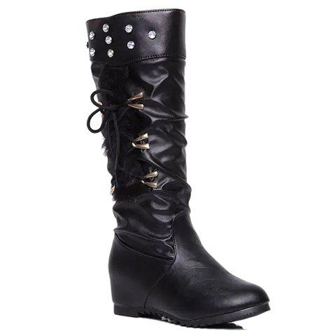 Stylish Rhinestone and Metal Design Women's Mid-Calf Boots