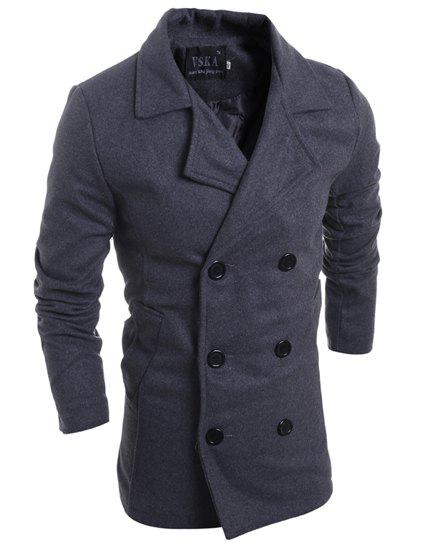 Double Breasted Solid Color Turn-Down Collar Long Sleeve Woolen Men's Peacoat - GRAY L