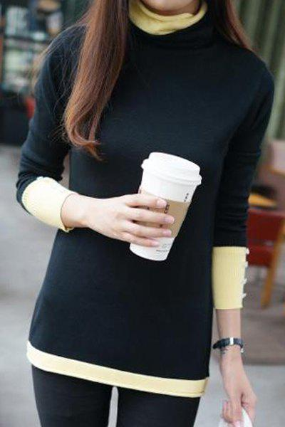 Stylish Turtle Neck Long Sleeve Color Block Women's Knitwear - BLACK ONE SIZE(FIT SIZE XS TO M)