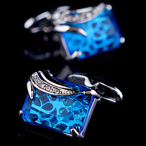 Pair of Stylish Blue Faux Gem and Rhinestone Embellished Cufflinks For Men